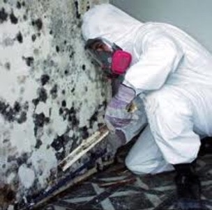 Man in white suit kneeling at moldy wall
