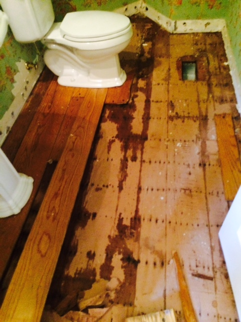 Toilet with wet wood floor